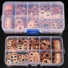 200pcs M5-M14 Copper Washer Gasket Set Flat Ring Seal Assortment Kit Box Frugal