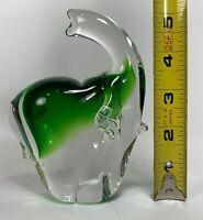 """Beautiful Glass Elephant Paperweight Green Art glass 5.5""""  Blown Glass"""