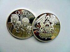 Unusual  Queen Band Freddie Mercury  Silver  Plated Coin . In Capsule