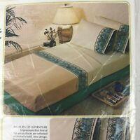 Vintage 1970s Sears Roebuck Kismet Perma Prest Percal King Flat Sheet Groovy