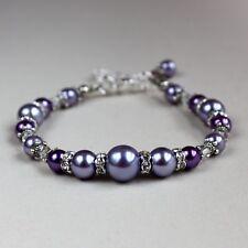 Vintage lilac mauve purple pearls beaded bracelet silver wedding bridesmaid gift