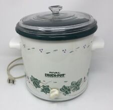 Vintage Rival 3 qt Crock-Pot Slow Cooker Green Ivy #3150