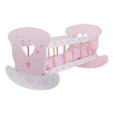 Wooden Rocking Cradle Baby Doll Bed with Blankets Toys Pretend Play Gift