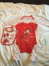 Mothercare Baby Girls 3 Piece Outfit 0-3m Baby Grow Best Bib Minnie Mouse Gift