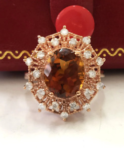 6.35 Carat Natural Madeira Citrine and Diamonds in 14K Solid Rose Gold Ring