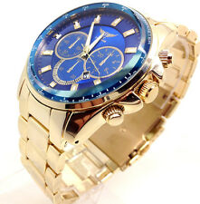 240X Men Army Style Luxury Wrist Watch Gold Band Chunky Blue Dial 2yrs Waranty