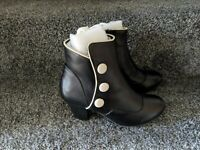 Lola Ramona Elsie Womens Ladies Black White Button Ankle Leather Boots Foot Shoe