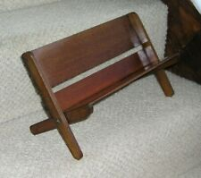 ANTIQUE CAMPAIGN BOOK STAND FOLDING BOOK SHELF MAHOGANY REEDED SIDES