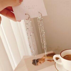 Fashion 925 Silver Heart Tassel Long Earrings Hoop Drop Dangle Women Jewelry New