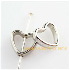 40Pcs Dull Silver Plated Acrylic Heart Spacer Beads Frame Charms 11x12mm