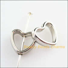 60Pcs Dull Silver Plated Acrylic Heart Spacer Beads Frame Charms 11x12mm