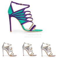Fashion Womens Hollow Out Ankle Strap Sandals Party Stiletto High Heel Shoes Sz
