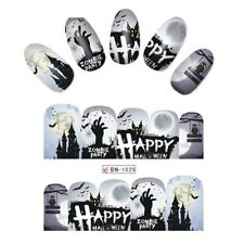 Nail Art Water Decals Stickers Transfers Halloween Freaky House Bats Moon BN1025