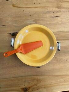 Vintage Kitchen Kraft Fiesta Pie Plate Yellow, Red Pie Server and Metal Holder