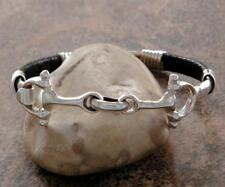 Beautiful Sterling Silver Equine Horse Snaffle Bit Bangle Bracelet Black Leather