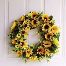 Christmas Artificial Rattan Sunflower Wreath Front Door Wall Decoration