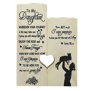 Mom Craft Wooden Decoration Candlestick Gives Daughter Gift Love Message