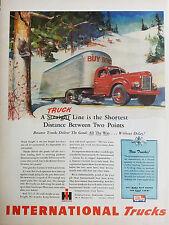 1945 Red International Harvesters Truck Freight Trailer Original Ad