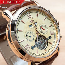 Mens Exhibition Automatic Mechanical Month Date Day Wrist Watch Rose Gold Brown