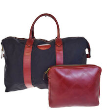 Auth YVES SAINT LAURENT Logos Hand Tote Bag Pouch Set Nylon Leather BK 04V1631