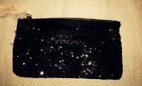NWT Victoria's Secret Black Sequin Clutch Purse Bag