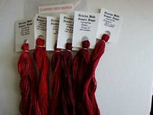 Classic Red Roses  over dyed floss set, 6 skeins, 20 yards each, 120yds