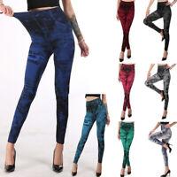 Damen Leggings Leggins Legins Hose Jeans Optik Elastisch viele Farben 34-46 K57