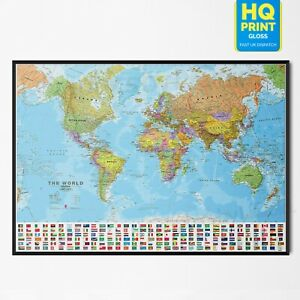 World Map Up To Date With Country Flag Educational Poster Print | A4 A3 A2 A1 |