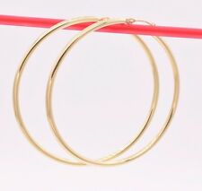 "2"" 2mm X 50mm Large Shiny Plain Hoop Earrings REAL 10K Yellow Gold 2.8grams"