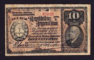 ARGENTINA  10 Centavos Circulated Banknote 1890 - 1891 Very Rare
