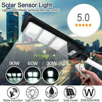 30-90W LED Solar Street Light PIR Motion Sensor Outdoor Wall Timing Lamp+Remote