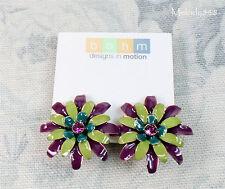 BOHM Flower Clip-On Earrings Vintage Gold Green Pink Swarovski 1960s Tiki BNWT