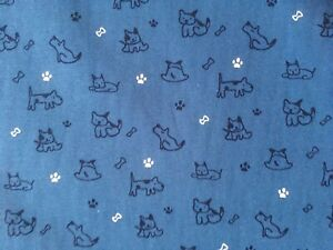 cotton 100% poplin dogs and puppies puppy blue fabric crafts  scrunchies masks