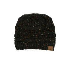 CC C.C Messy Bun Ponytail Beanie Black Confetti Soft Stretch Knit Skully Hat