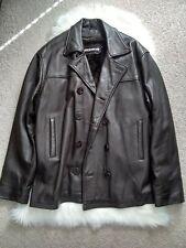 Hudson Removable Zipper Lining Men's Leather Pea Coat Jacket