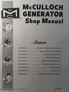 McCulloch 1500 2000 3000 & H-2000 Portable Generator Service Repair Shop Manual