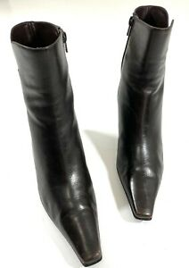 Rare STUART WEITZMAN Brown/Black Leather Ankle Boots Booties - Size 6.5M