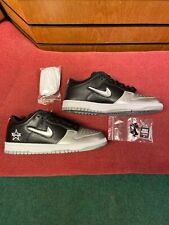 Supreme Nike SB Dunk Low Jewel Swoosh Black Silver lot FW19- Size UK8/US9/EU42.5