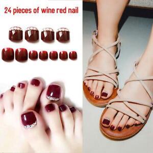 24Pcs Toe Artificial False Nails Nail Art Tips Foot Fake Manicure Toenail Tools
