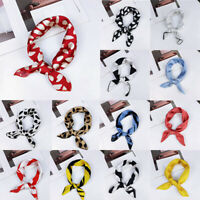 Women Charm Square Silk Feel Satin Scarf Small Vintage Head Neck Hair Tie Bands