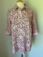 Charter Club Women Top Shirt- Blouse Plus Size 1X Linen Pink  Cuffed Sleeves NWT