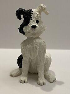 """Bingo"" By pat Kolesar Black And White resin dog figurine Signed."