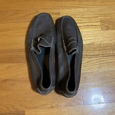 Keys Mens Italian Brown Leather Loafers Size 45