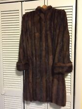 Vintage 1970s Authentic Wild Mink Fur Stroller Length Coat Mandarin Collar