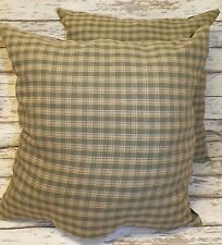 UNSTUFFED Set Primitive Pillow Green 20 Inch Plaid Country Couch Home Decor