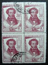 Russia 1937 592 CTO H OG 40k Pushkin Russian Writer & Poet Block of Four!!