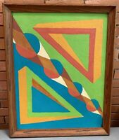 Vintage 60s Geometric Shapes Painting Mid Century Modern Wall Hanging Art Signed