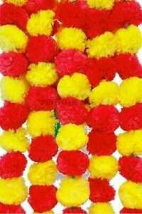 50 Pc Handmade Marigold Indian Yellow With Red Garland wedding housewarming