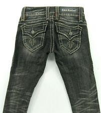 ROCK REVIVAL CHRISTINA Straight  GRAY / BLACK  Flap Pockets  size 25 /inseam 29