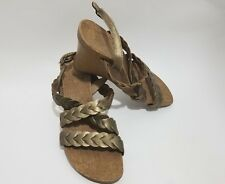 Kenneth Cole Reaction Gold Open Toe Wedge Women's Sandals Size 8M